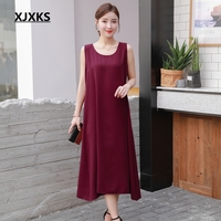 XJXKS Summer Dress 2019 New Sleeveless Tank Linen Women Dress Comfortable Loose Casual Korean Style Ladys Long Dresses