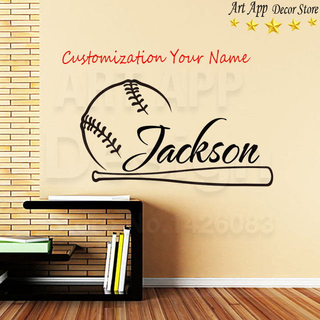 Good Quality House Decor New Art Name Design Baseball Vinyl Wall Decals  Removable Room Decoration Sports