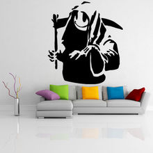 Graffiti Street Wall Art Sticker Banksy Vinyl Decal Death With Happy Smile Face Mural Removable Decals AY0160