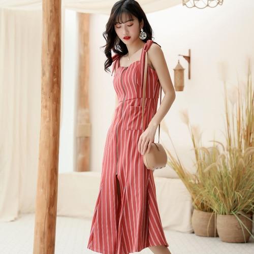 Spaghetti sangle sirène rouge femmes vêtements sans manches Zip Sexy robes poche Vintage robe plage longue femme tissu mode coréenne