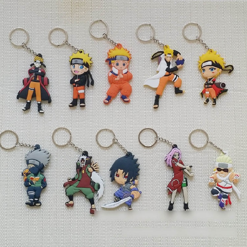Japan Anime Naruto action figure Naruto Uzumaki keychain Double Side Figure Pendant Kakashi Sasuke Vortex Naruto Parker keyring naruto sakura kakashi sasuke anime kawaii acrylic keychain pendant