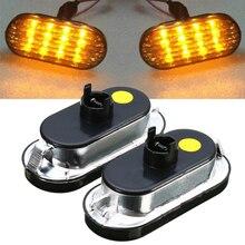 1Pair 12V Universal Car Amber Singal Lamp Low Power LED Side Marker Light for V-W G-olf J-etta B-ora MK4 P-assat B5 B5.5 Mayitr
