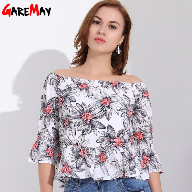 7cbe98216af45d Feminine Blouses Off Shoulder Top Ruffle Blouse Shirt Women Chiffon Flared Sleeve  Womens Tops Floral Print Blouse Shirt