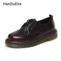 Women Casual Shoes Oxford Female Ankle Shoes Flats Cow Suede Red Leather 2018 Spring Round Toe