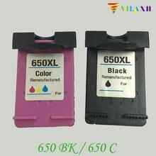2 Pcs For HP 650 Compatible Ink Cartridges  For HP650 Deskjet 1015 1515 2515 2545 2645 3515 4645 Printer