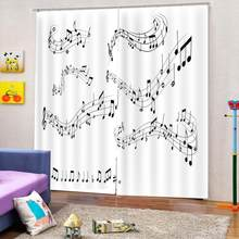 Luxury Blackout 3D Window Curtains For Living Room Bedroom music curtains for girl room(China)
