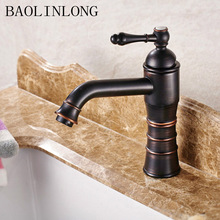 Black Antique Brass Basin Bathroom Faucets Deck Mount Bath Vanity Vessel Sinks Mixer Faucet Tap