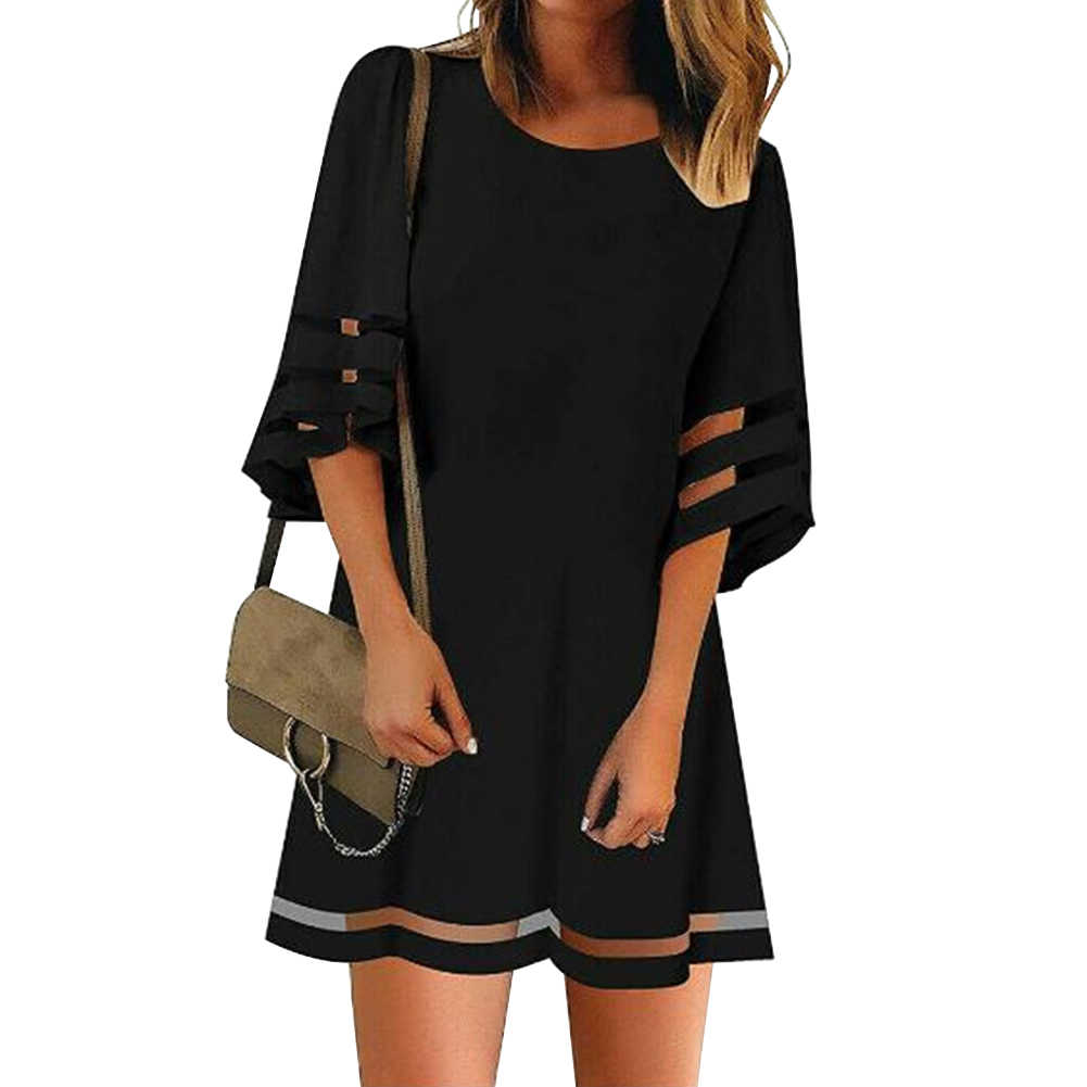 Fashion Daily Loose Summer Flare Sleeve Mini Women Dress A Line Casual Splice Ladies Shopping Crew Neck Dating