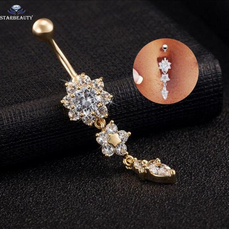 Starbeauty Piercing Earring Navel 316l-Steel Zirconia Retro-Flower 16G 14G Nombril High-Quality