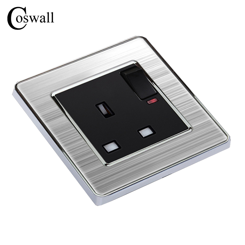 COSWALL 13A UK Standard Switched Socket with Neon Luxury Wall Power Outlet Enchufe Stainless Steel Panel Electrical Plug uk socket wallpad crystal glass panel 110v 250v switched 13a uk british standard electrical wall socket power outlet uk with led
