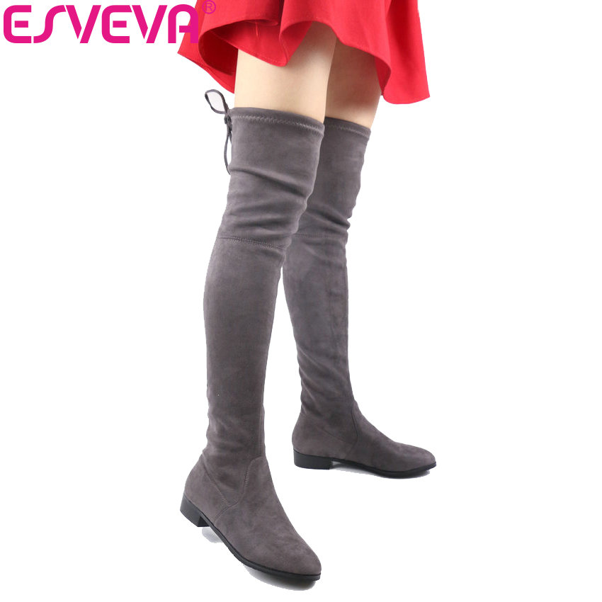 ESVEVA 2017 Over The Knee Boots Square Med Heel Women Boots Sexy Ladies Lace Up Stretch Fabric Fashion Boots Black Size 34-43 esveva 2017 western style flock women boots over the knee boots winter square high heel ladies lace up fashion boots size 34 43