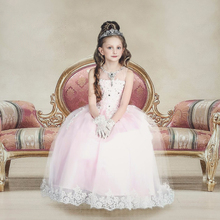 2016 New Ball Gown Lace  Flower Girl Dresses with Appliques Crystal Girls Pageant Gown First Communion Dresses FD03