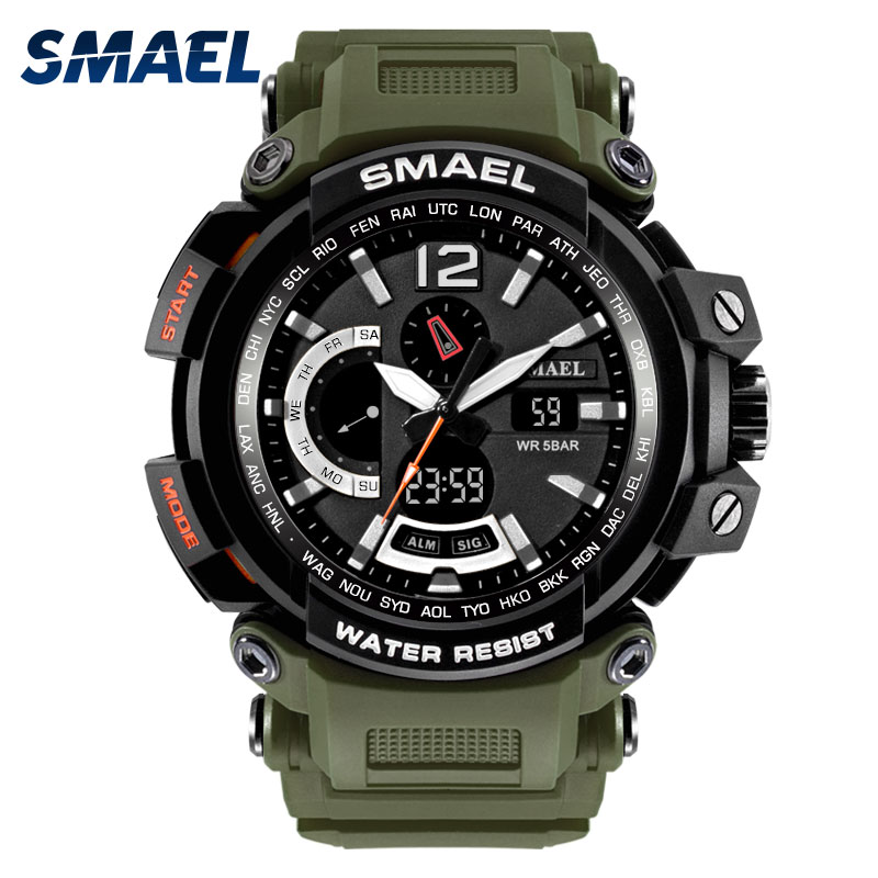 SMAEL New Sport Casual Men Digital Watches Dual Display Dial S Shock Military Army Watch Waterproof Male Clock relogio masculino np shock resistant waterproof watch men 2016 new nylon sport watches ultra slim watchcase men s fashion clock large white dial