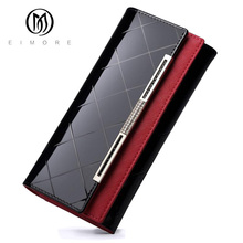 EIMORE Women's Wallets Women Cowhide Leather Wallet Luxury Design Ladies Party Clutch Patent Leather Purses Long Card Holder