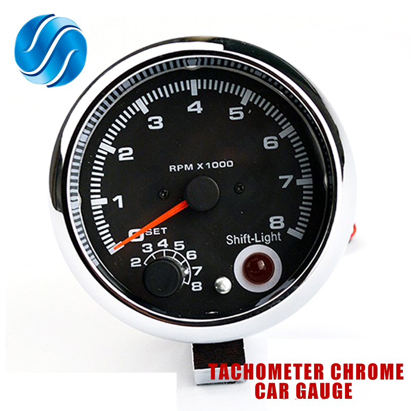 3.75 Inch 95mm White Face Car Tachometer Tacho Gauge w//Shift Light 0-8000RPM