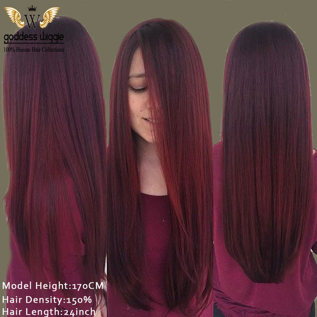 150density Ombre Cherry Red Silky Straight Lace Front Wigs Glueless Human Remi Hair Full For Women