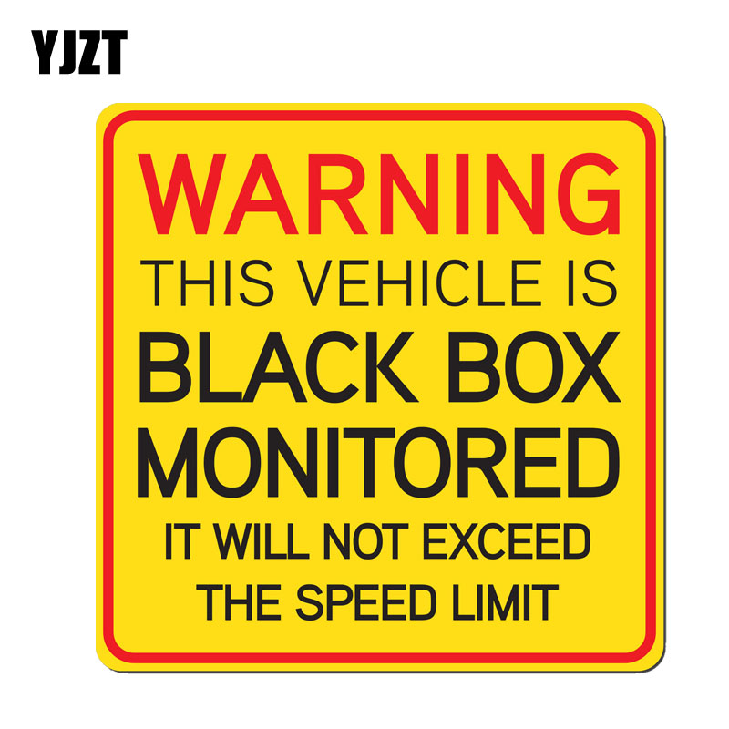 YJZT 14CM*14CM THIS VEHICLE IS Black Box Monitored IT WILL NOT EXCEED THE SPEED LIMIT Car Sticker PVC Decal 12-0362