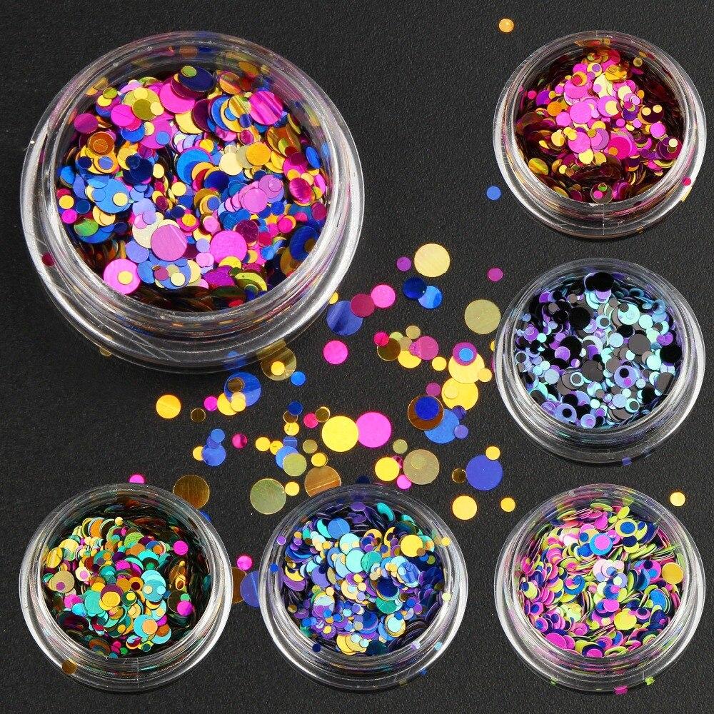 6 Garrafas/set Nail Art Glitter Lantejoulas Cor Misturada Prego Pó Glitter Mulheres Decoração de Unhas Manicure Ferramentas WY659