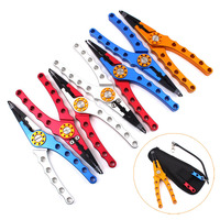 Mr Fish Deluxe Aviation Aluminum Fishing Pliers Fish Lures Hook Remover Tungsten Scissors Line Cutter With