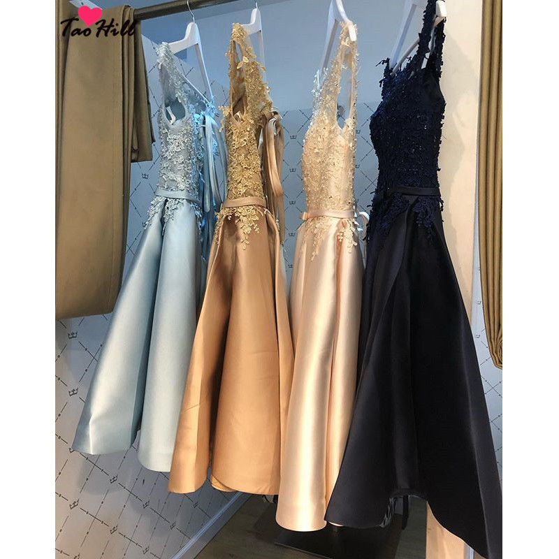 TaoHill   Cocktail     Dresses   2019 Evening Party A-line Short Sleeves Scoop Neck Lace Applique Bow Belt Champagne   Cocktail     Dress   Gown