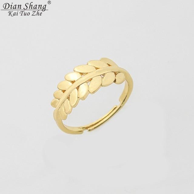 Greece Laurel Leaf Ring Women Delicate Wedding Jewelry Silver Rose Gold Floral K