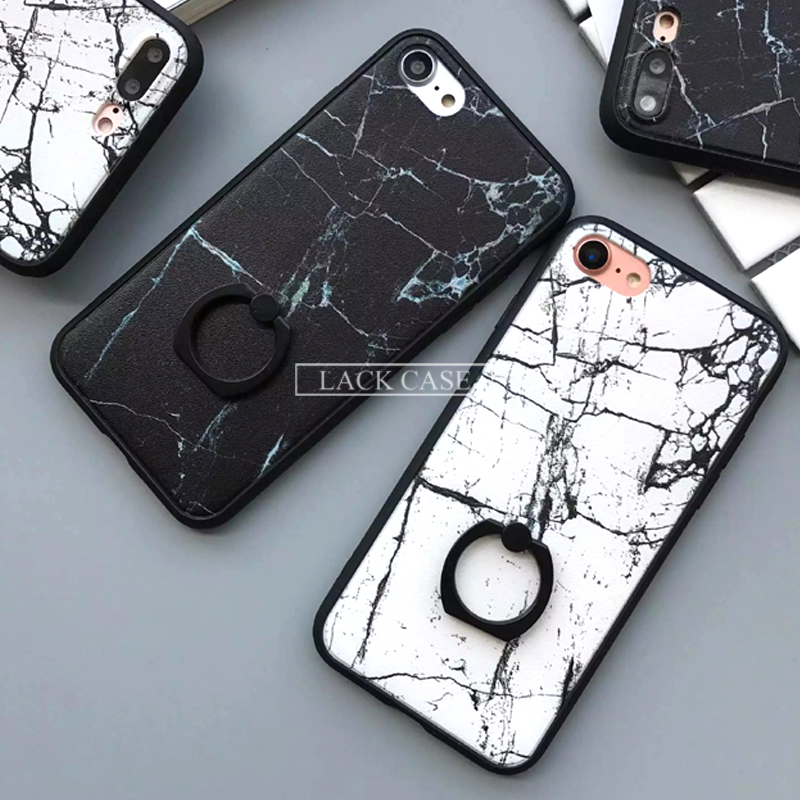 hot sale online ba18b c0dbe US $2.41 15% OFF LACK Fashion Classics Black White Marble Case For iphone 7  Case For iphone7 7 PLus Back Cover Phone Cases with Ring Grip Fundas-in ...