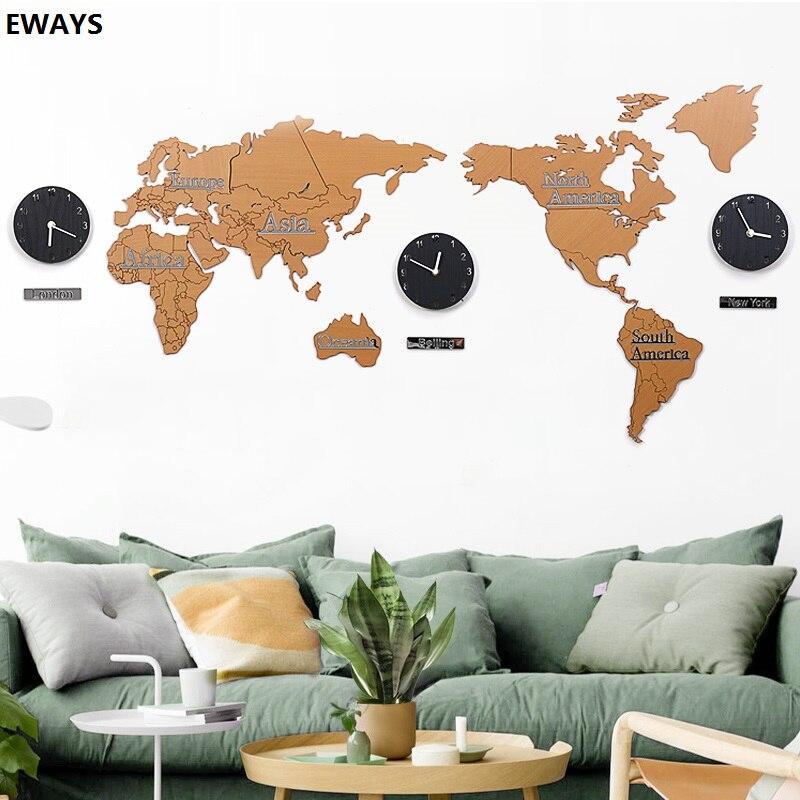 World Map Wall Clock Modern Design 3D Stickers Hanging Clock Unique Watch Wall Clocks Home Decor