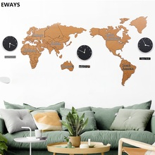 World Map Wall Clock Modern Design 3D Stickers Hanging Clock  Unique Watch Wall Clocks Home Decor Acrylic Wall Sticker creative geometric flower black wall clock modern design with wall stickers 3d quartz hanging clocks free shipping home decor