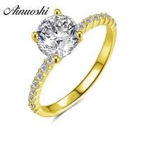 AINUOSHI 10 К твердое желтое золото обручальное кольцо 1,25 карат 4 зубца круглой огранки Сона Имитация Ювелирные изделия с бриллиантами для женщи