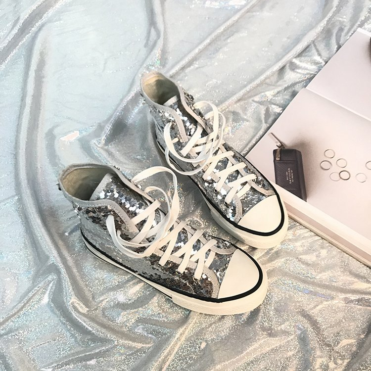 Tleni 2018 New High Top White Women Flats running Shoes Ladies Canvas Shoes lace-up Bling Bling sneaker shoes ZK-20 13
