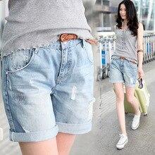 Ретро 2017 лето новый Стиль бойфренд свободные джинсовые Шорты носить отверстие джинсовые шорты из бисера Голубой Свободные Женщины Короткие Джинсы Z1933