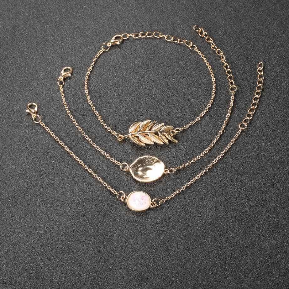3 יח'\סט זהב צבע עלה נוצת גיאומטריה קריסטל אופל אבן צמידים לנשים Boho צמיד המפלגה סט סיטונאי 2019