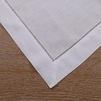 N002 21: 12 Piece White Hemstitch Dinner Napkins 55/45 Linen Cotton Blend 21 x 21 Ladder Hemstitch Cloth Dinner Napkin