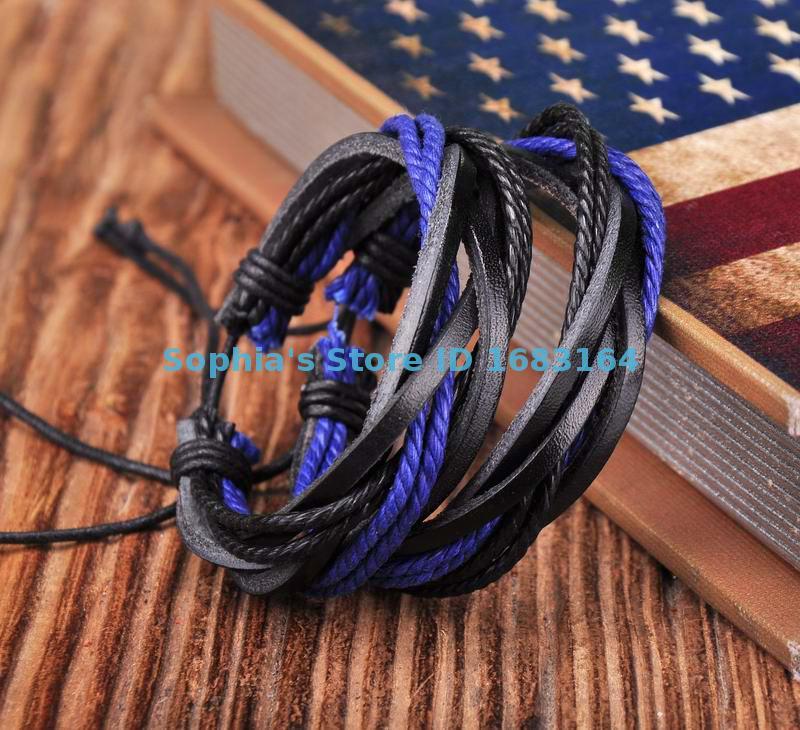 Classic Lot 2pc Black&Blue Leather Hemp Friendship Bracelet Bangle Wristband Mens Womens