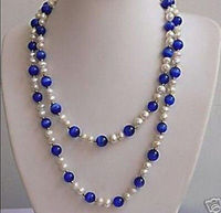 HOT## Wholesale > 48 inches beautiful White pearl&Blue opal necklace 7 8MM
