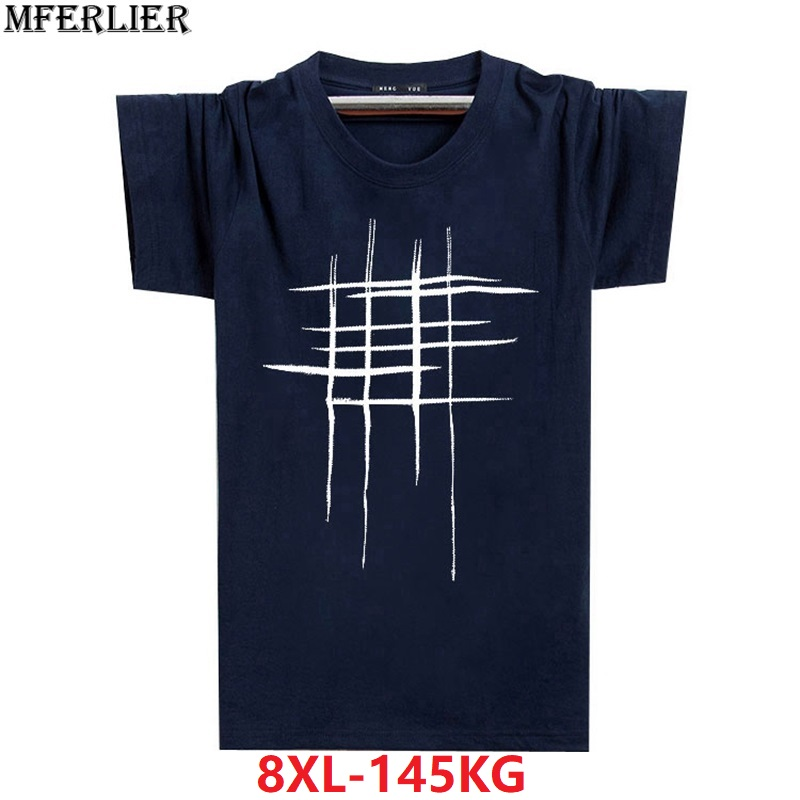MFERLIER men summer 5XL Casual black tshirt cotton plus size big 7XL 8XL short sleeve   t  -  shirts   geometry fashion Creativity tees