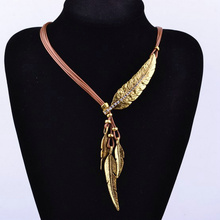 Bohemian choker necklace Women Black Rope Chain Feather Pattern necklaces & pendants chokers Jewelry Collares Statement Necklace