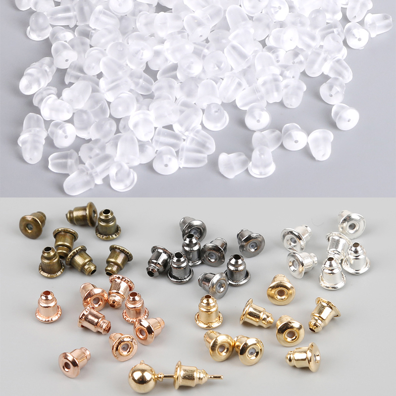 50-100pcs Jewelry Findings Metal Accessories Beads DIY Ear Plugs Post Nuts Clear Soft Silicone Rubber Earring Backs Plug Cap