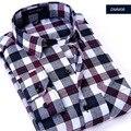 2017 новый весна осень мужская хлопок повседневная шерстяная рубашка Momao решетки Мужчина с длинными рукавами рубашки