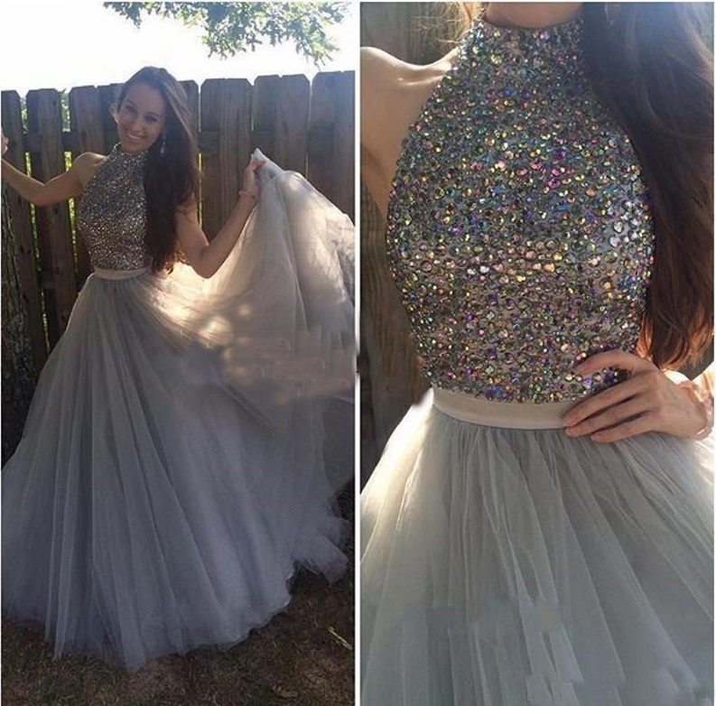 A Line Elegant High Neck Beaded Crystal Rhinestone Grey Prom Dresses Long  Sweep Train Women Formal Party Dress 2807f5026