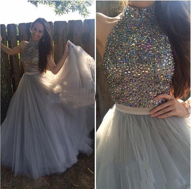 A Line Elegant High Neck Beaded Crystal Rhinestone Grey Prom Dresses ...