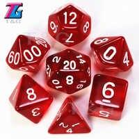 T&G 7 piezas/lote de alta calidad rojo transparente dados D4, 6,8, 10,10%, 12,20 Set Juegos de cartas