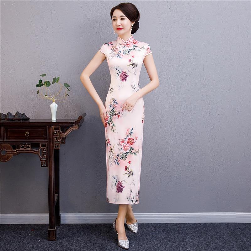 2019 Summer Long Cheongsam Novelty Chinese Style Dress Womens Rayon Qipao Slim Party Dresses Lady Button Vestido Size S-XXXL