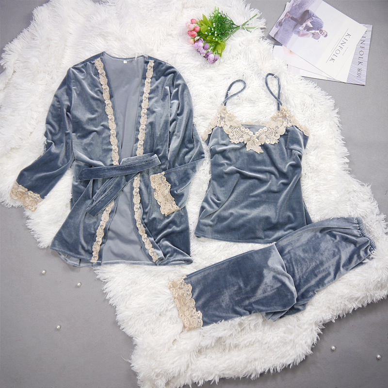 2019 Autumn Winter Warm Women   Pajamas     Set   With Pants Sexy Pijama Sleepwear For Women Sleeveless Strap Nightwear Pyjama