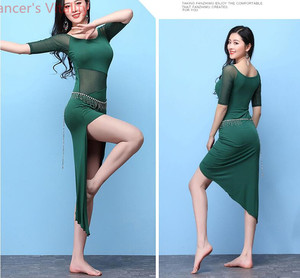 Image 2 - Short Sleeves Dress for Women Belly Indian Dance Cut out Suit Girls Lady Belly Sexy Perspective Dancewear Competition Practice