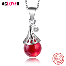 100% Sterling Silver 925 Water Drop Pendant Necklace with Round AAA Shiny Cubic Zircon Genuine Silver Women Jewelry 3 4mm long fresh water pearl necklace multi layers 925 sterling silver with cubic zircon flower party necklace fashion jewelry