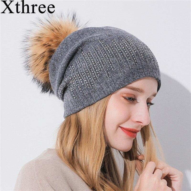 Xthree sombrero de las mujeres de invierno mapache Pom Beanies sombrero Cachemira de punto mantener cálido Gorro sombrero de lana marca