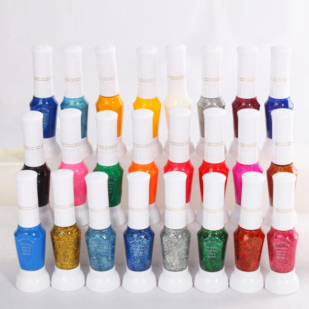 24 Color Two Way Nail Art Pen Brush Uv Gel P