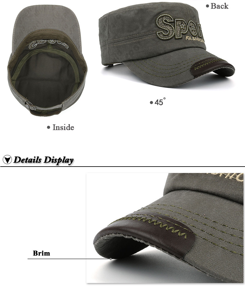 """Embroidered """"Sport"""" Milicap - Inside, Front Angle and Brim Detail Views"""