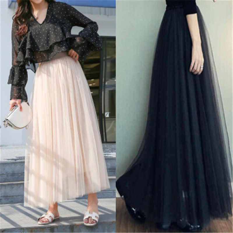 2019 Maxi Long Tutu Tulle Skirts Womens High Waist Ball Gown Skirt Summer Elastic Waist Gray Adult Tutu Skirts Jupe ZY2621